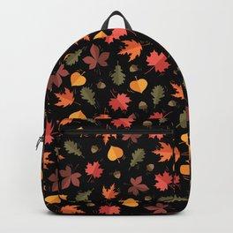 Autumn Leaves Pattern Black Background Backpack