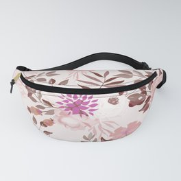 Vintage Pink Flowers Painted Watercolour Garden Pattern Fanny Pack