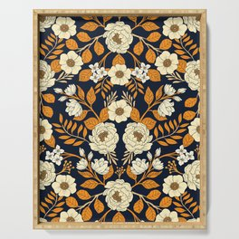 Navy Blue, Orange, Cream, Gold & White Floral Pattern Serving Tray