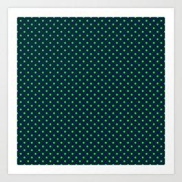 Mini Navy and Neon Lime Green Polka Dots Art Print