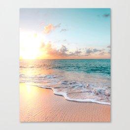 Tropical Sunset Beach, Sunset Photo Canvas Print