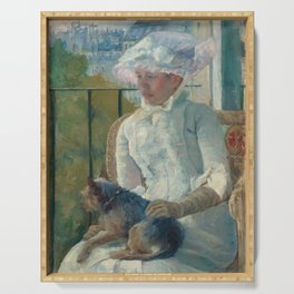 Young Girl at a Window Oil Painting by Mary Stevenson Cassatt Serving Tray