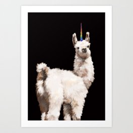 Unicorn Baby Llama in Black Art Print
