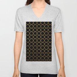 Elegant black faux gold glitter chic quatrefoil vector illustration Unisex V-Neck