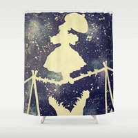 haunted mansion Shower Curtains featuring Haunted by Kayleigh Kirkpatrick