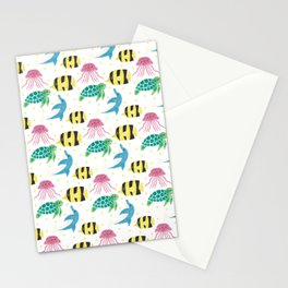 Colorful pink yellow black fish dolphin turtle nautical pattern Stationery Cards