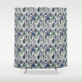 blue and green boho feather pattern Shower Curtain