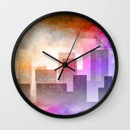 Colorful night digital illustration Wall Clock