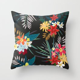 Frangipani, lily palm leaves tropical vibrant colored trendy summer pattern black background Throw Pillow