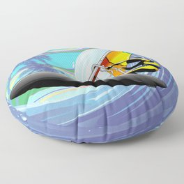 Windsurfer on Ocean Waves Floor Pillow