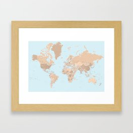 Blue and brown detailed world map with state capitals and more Framed Art Print