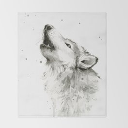 Wolf Howling Watercolor Animals Painting Black and White Throw Blanket