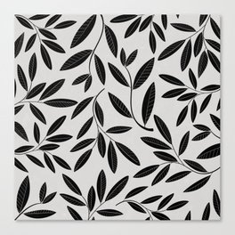 Black and White Plant Leaves Pattern Canvas Print