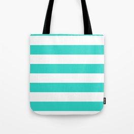Horizontal Stripes - White and Turquoise Tote Bag