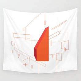 Blueprint #2 (red) Wall Tapestry