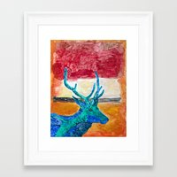 rothko Framed Art Prints featuring Deer Rothko by winterkl