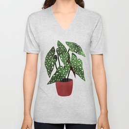 Begonia maculata pot watercolor Unisex V-Neck