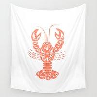lobster Wall Tapestries featuring Lobster by NoelleGobbi