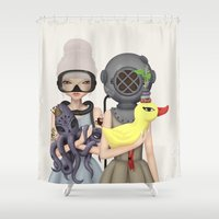 diver Shower Curtains featuring diver by Anne  Martwijit