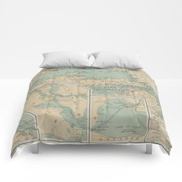 Vintage Great Lakes Lighthouse Map (1898) Comforters