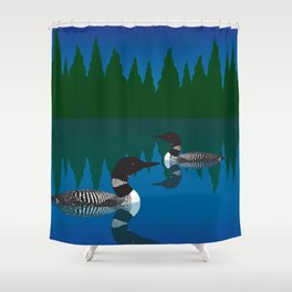 Loons in a Woodland Lake Shower Curtain
