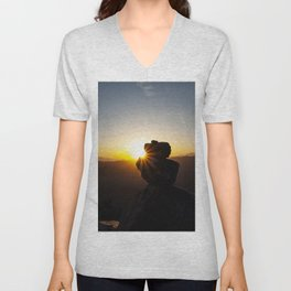 Sunset Behind Nature's Skyscraper Unisex V-Neck