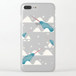 Sea unicorn - Narwhal blue Clear iPhone Case
