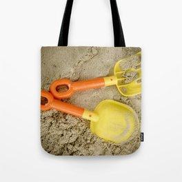 Beach Print Yellow and Orange Sand Toys Children Nursery Room Decor Tote Bag