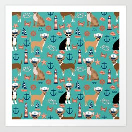 Chihuahua nautical sailor dog pet portraits dog costumes dog breed pattern custom gifts Art Print