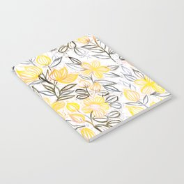 Sunny Yellow Crayon Striped Summer Floral Notebook