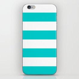 Wide Horizontal Stripes - White and Cyan iPhone Skin