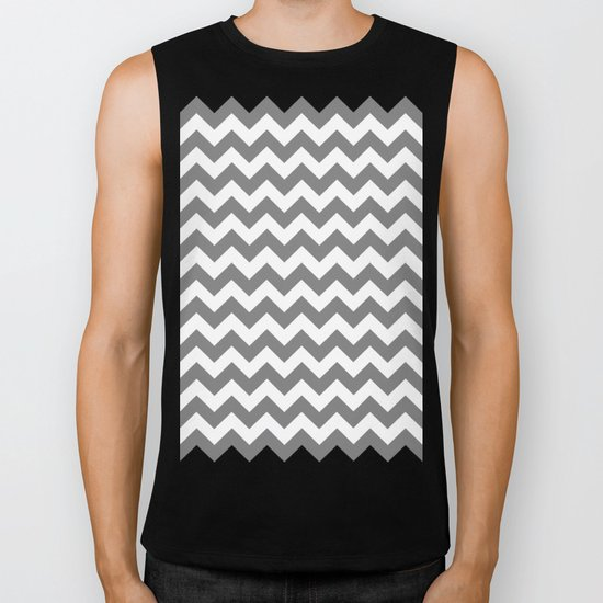 Chevron (Gray/White) Biker Tank