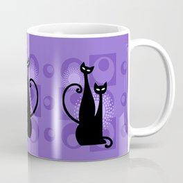 Purple Paradise Atomic Age Black Kitschy Cats Coffee Mug