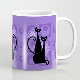 Purple Paradise Atomic Age Black Kitschy Cats Coffee Mug