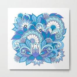 blue zen composition with lotus 1 Metal Print