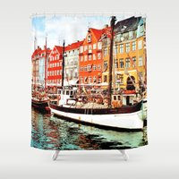 copenhagen Shower Curtains featuring Copenhagen, Denmark by Philippe Gerber