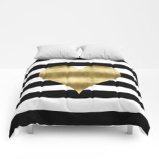 gold heart black and white stripe Comforters