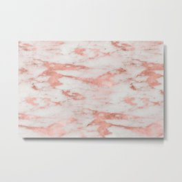 White Marble with Rose Gold Foil Metal Print