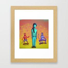 Demons Stalking Blue Girl Framed Art Print