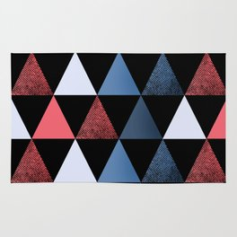 Geometric pattern . red, black, blue, white triangles. Rug