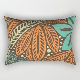 Blue orange retro colored Polynesian Hawaiian floral tattoo design Rectangular Pillow