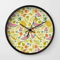 fruit Wall Clocks featuring Fruit Mix by Anna Deegan