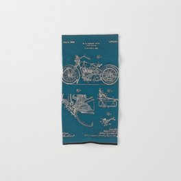 1902 Motorcycle Blueprint Patent in blue Hand & Bath Towel