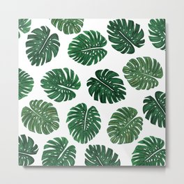 Tropical Hand Painted Swiss Cheese Plant Leaves Metal Print