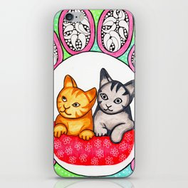 Watercolor Doodle Art   Cats! iPhone Skin