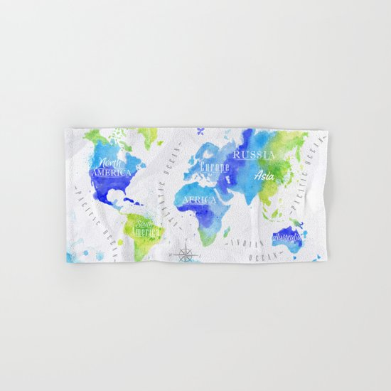 Blue & Green World Map Hand & Bath Towel