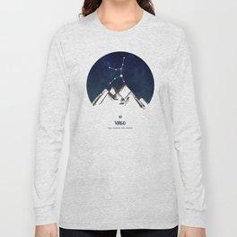 Astrology Virgo Zodiac Horoscope Constellation Star Sign Watercolor Poster Wall Art Long Sleeve T-shirt