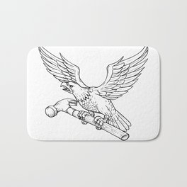Eagle Clutching Hammer Drawing Bath Mat