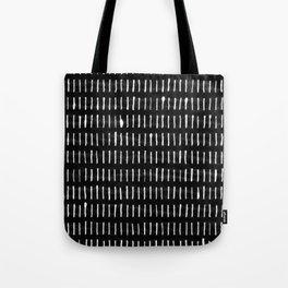 White on Black Woodstock Pattern Tote Bag
