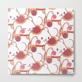 Maneki-Neko Pattern Metal Print